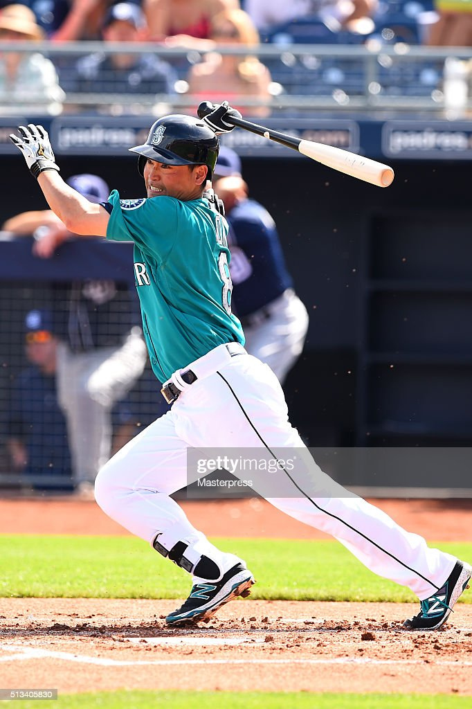 Norichika Aoki of Seattle Mariners bats during the spring training game between San Diego Padres and Seattle Mariners at Peoria Sports Complex on March 2, 2016 in Peoria, Arizona.