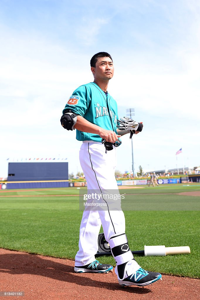 Norichika Aoki of Seattle Mariners looks on prior to a spring training game between San Diego Padres and Seattle Mariners at Peoria Sports Complex on March 2, 2016 in Peoria, Arizona.