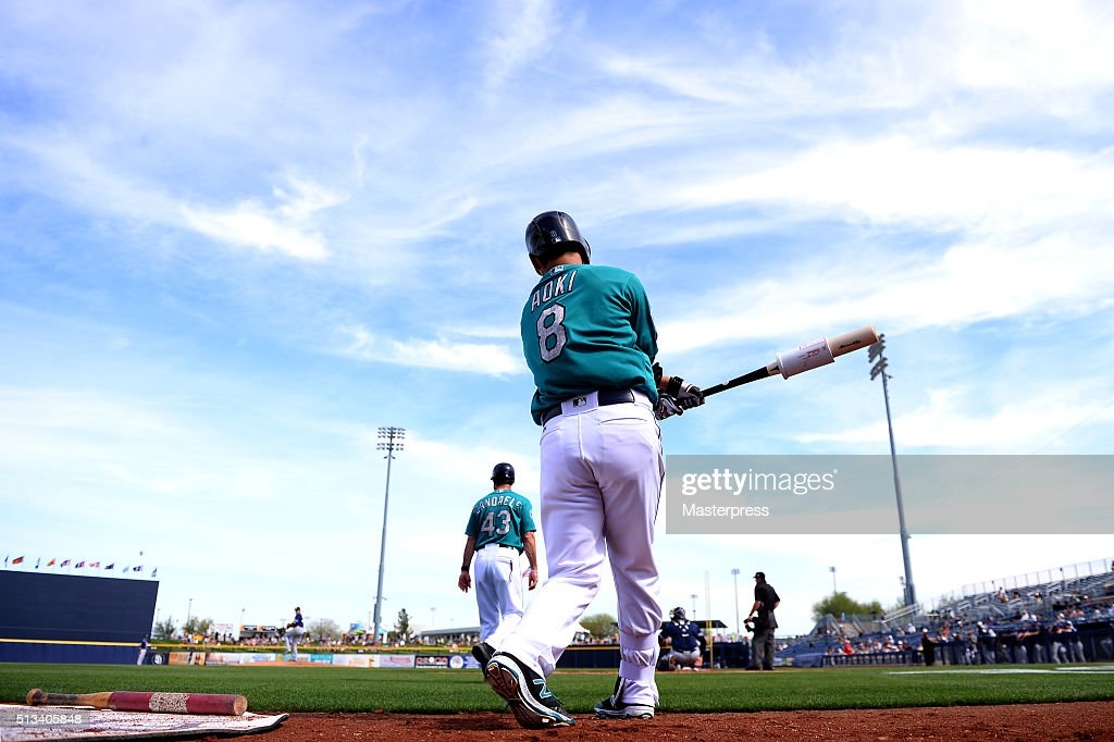 Norichika Aoki of Seattle Mariners swings during the spring training game between San Diego Padres and Seattle Mariners at Peoria Sports Complex on March 2, 2016 in Peoria, Arizona.