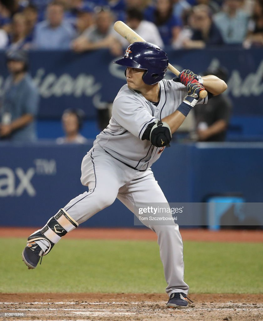Norichika Aoki #3 of the Houston Astros bats as he pinch-hits in the eighth inning during MLB game action against the Toronto Blue Jays at Rogers Centre on July 6, 2017 in Toronto, Canada.