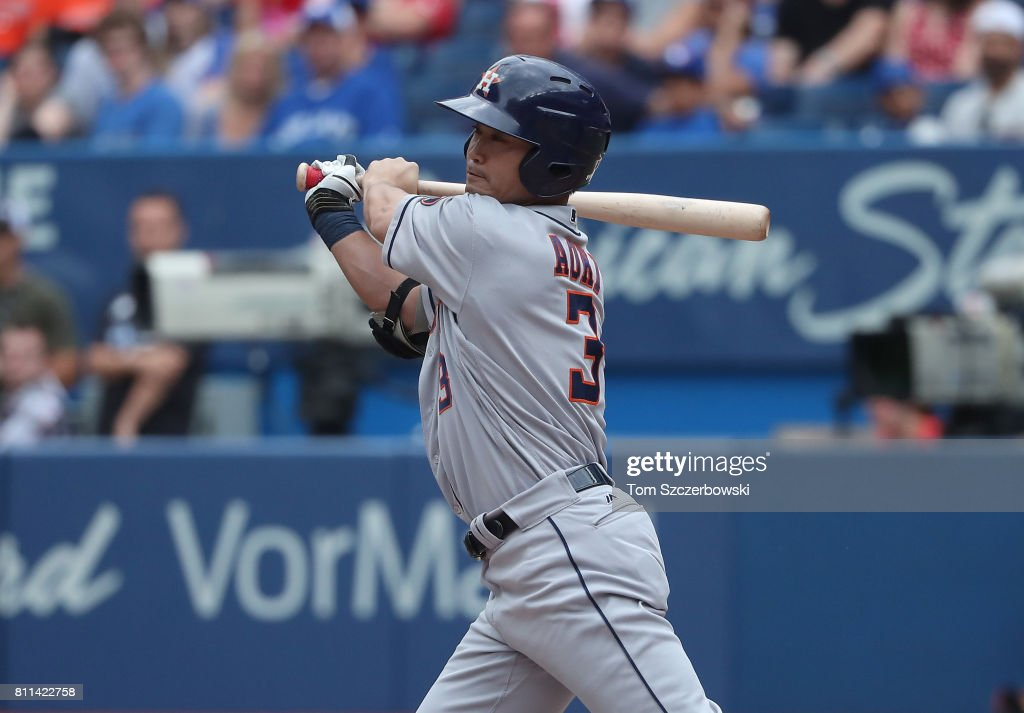 Norichika Aoki #3 of the Houston Astros bats in the eighth inning during MLB game action against the Toronto Blue Jays at Rogers Centre on July 9, 2017 in Toronto, Canada.