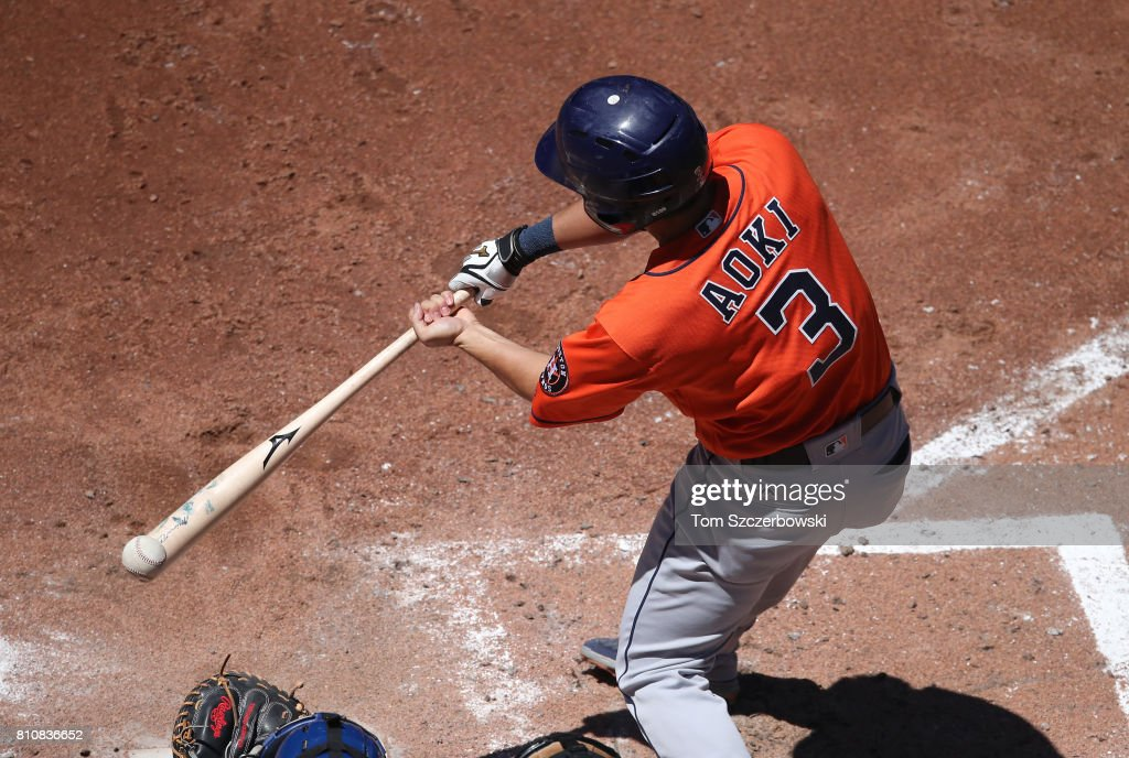 Norichika Aoki #3 of the Houston Astros bats in the fifth inning during MLB game action against the Toronto Blue Jays at Rogers Centre on July 8, 2017 in Toronto, Canada.