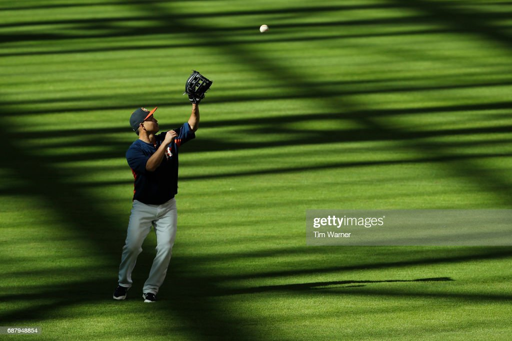 Norichika Aoki #3 of the Houston Astros catches a fly ball before the game against the Detroit Tigers at Minute Maid Park on May 24, 2017 in Houston, Texas.