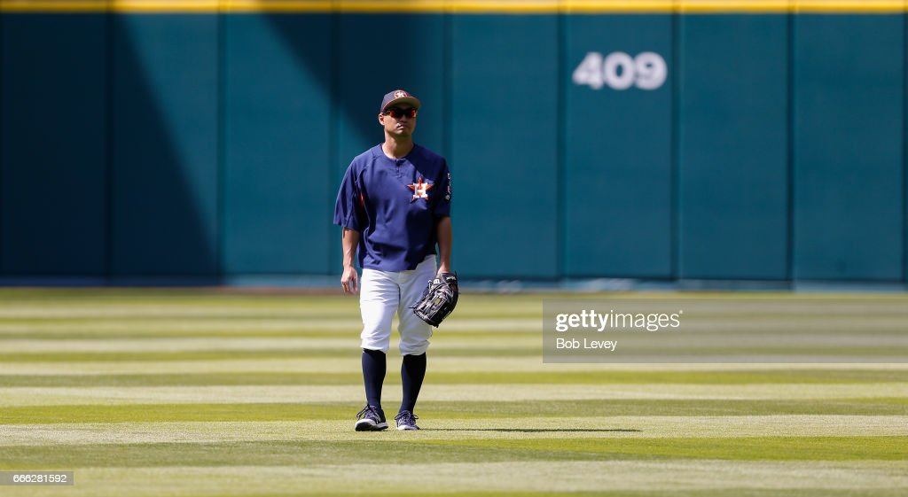 Norichika Aoki #3 of the Houston Astros during batting practice before playing the Kansas City Royals at Minute Maid Park on April 8, 2017 in Houston, Texas.