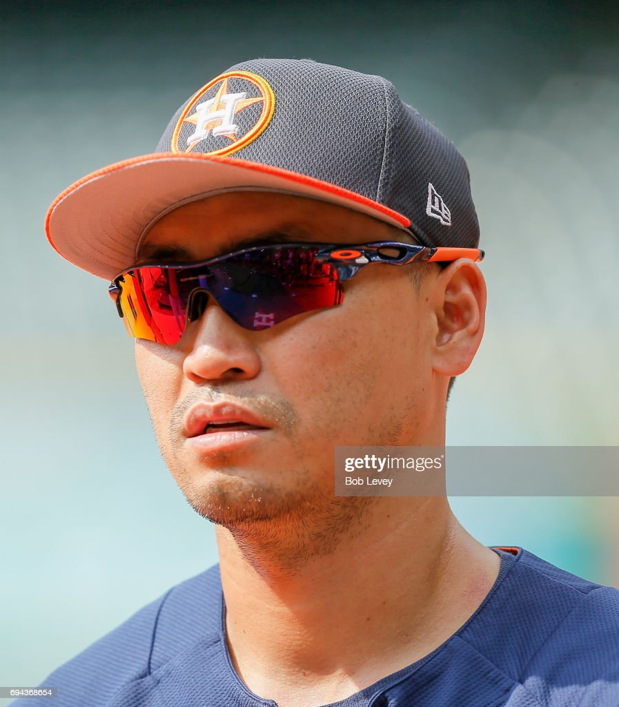 Norichika Aoki #3 of the Houston Astros during batting practice before playing the Los Angeles Angels of Anaheim at Minute Maid Park on June 9, 2017 in Houston, Texas.