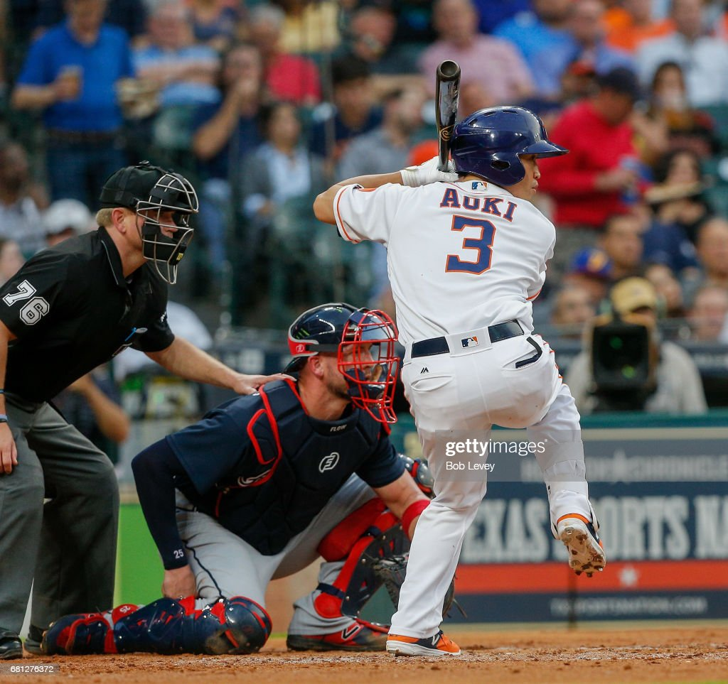 Norichika Aoki #3 of the Houston Astros during game action against the Atlanta Braves at Minute Maid Park on May 9, 2017 in Houston, Texas.