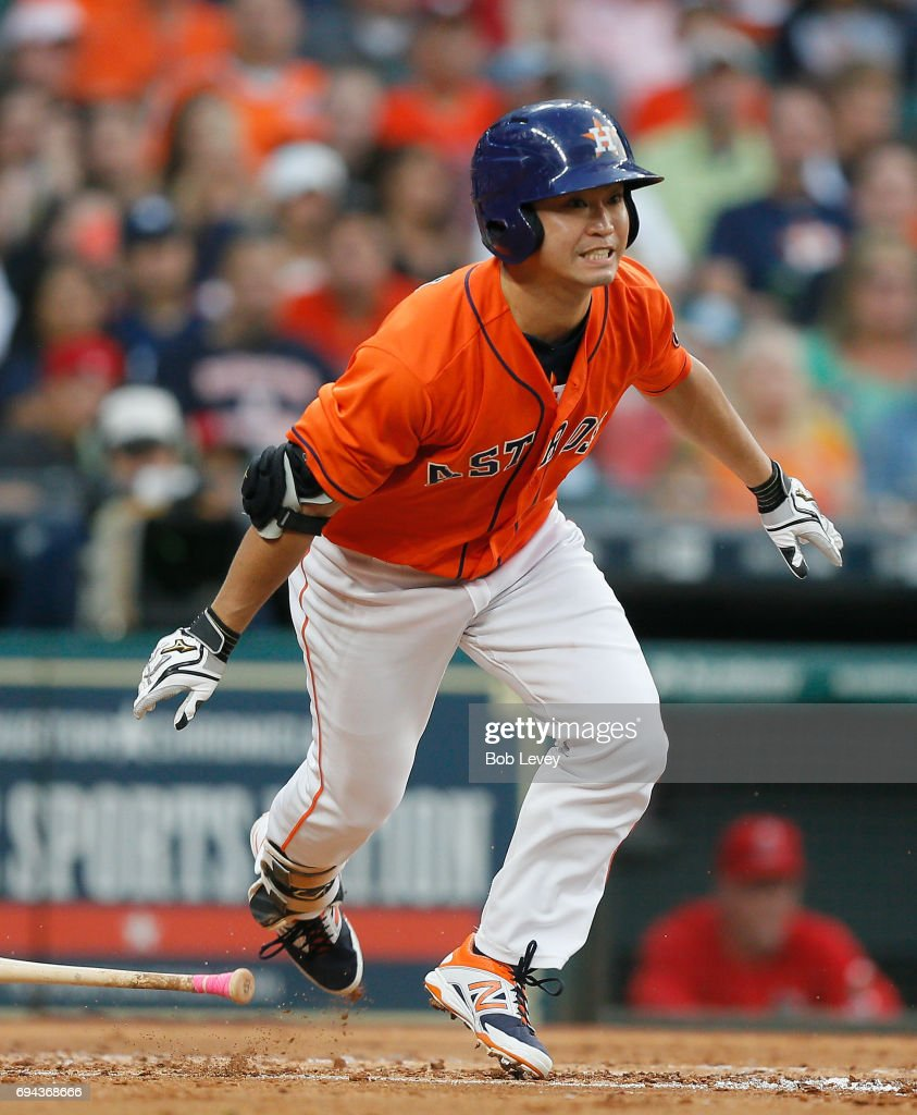 Norichika Aoki #3 of the Houston Astros during the game against the Los Angeles Angels of Anaheim at Minute Maid Park on June 9, 2017 in Houston, Texas.