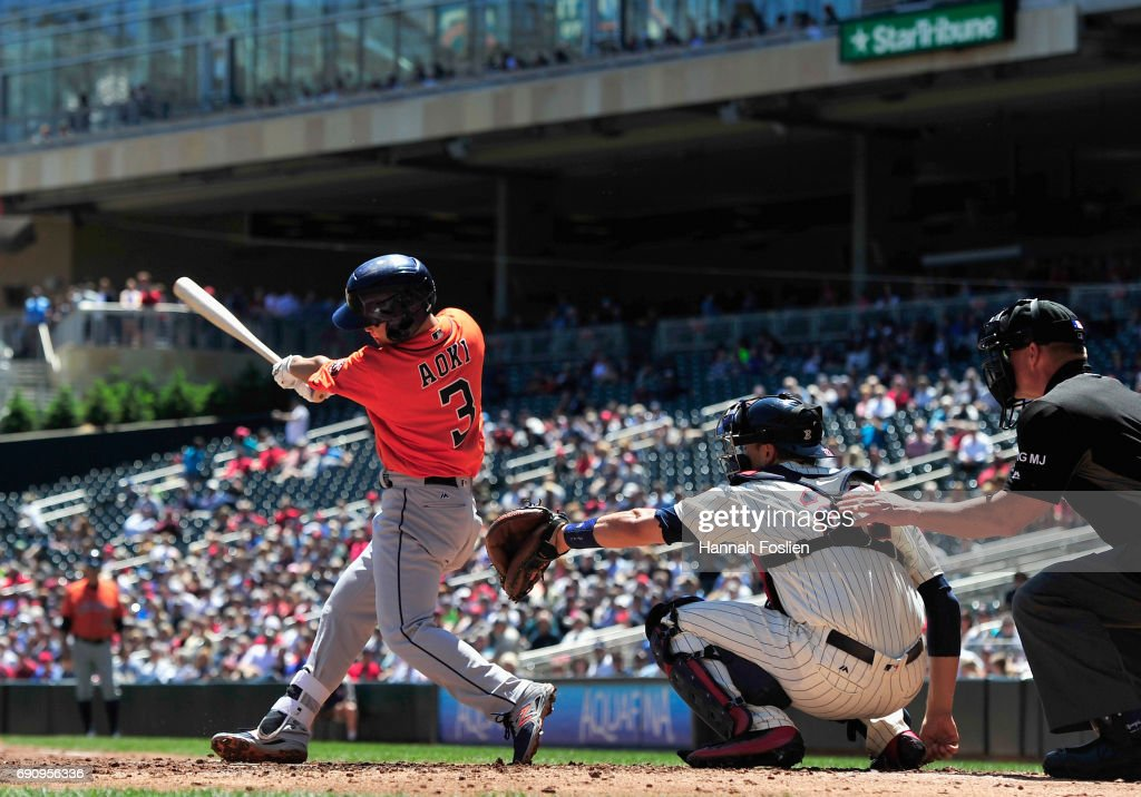 Norichika Aoki #3 of the Houston Astros grounds out against the Minnesota Twins during the second inning of the game on May 31, 2017 at Target Field in Minneapolis, Minnesota.