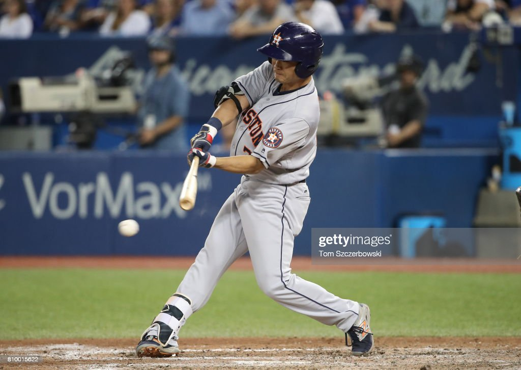Norichika Aoki #3 of the Houston Astros grounds out as he pinch hits in the eighth inning during MLB game action against the Toronto Blue Jays at Rogers Centre on July 6, 2017 in Toronto, Canada.
