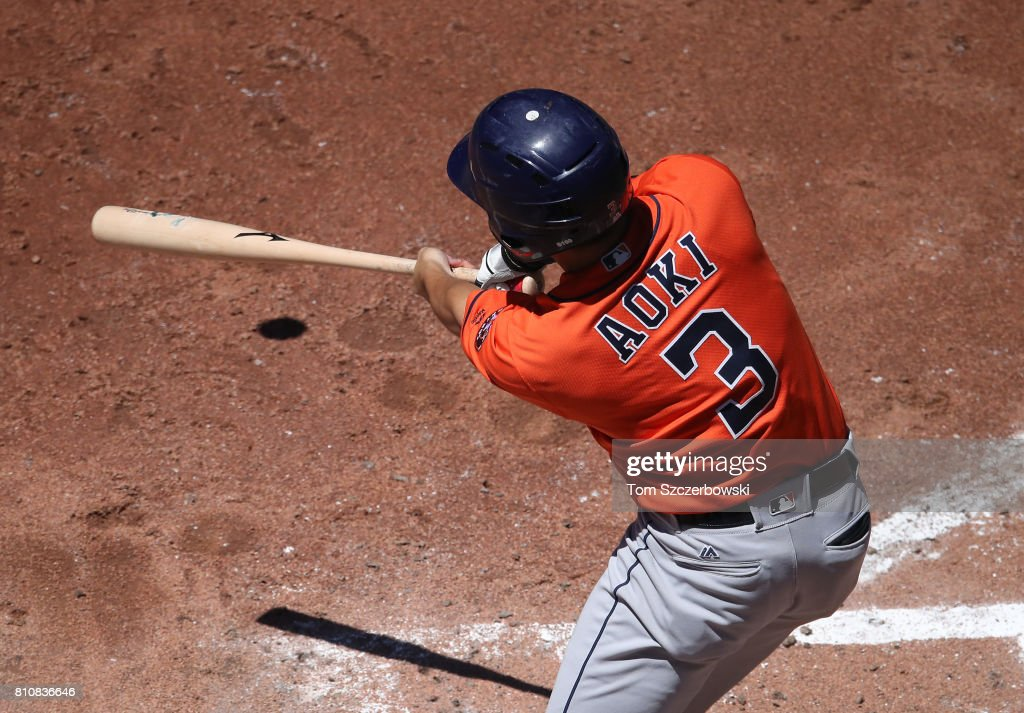 Norichika Aoki #3 of the Houston Astros hits a single to right field in the fifth inning during MLB game action against the Toronto Blue Jays at Rogers Centre on July 8, 2017 in Toronto, Canada.