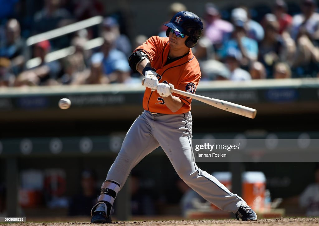 Norichika Aoki #3 of the Houston Astros hits into a fielders choice against the Minnesota Twins during the eighth inning of the game on May 31, 2017 at Target Field in Minneapolis, Minnesota. The Astros defeated the Twins 17-6.