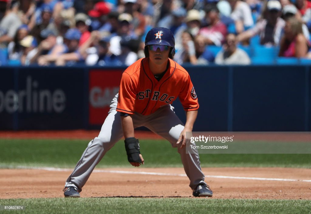Norichika Aoki #3 of the Houston Astros leads off first base in the third inning during MLB game action against the Toronto Blue Jays at Rogers Centre on July 8, 2017 in Toronto, Canada.