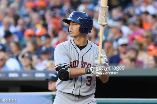 Norichika Aoki of the Houston Astros looks on while waiting on-deck to bat in the second inning of the game against the Detroit Tigers at Comerica...