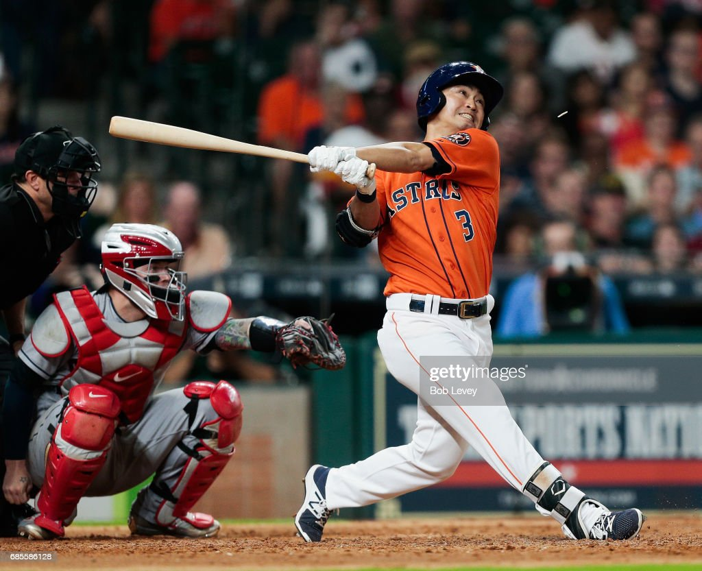 Norichika Aoki #3 of the Houston Astros pops out in the seventh inning against the Cleveland Indians at Minute Maid Park on May 19, 2017 in Houston, Texas.