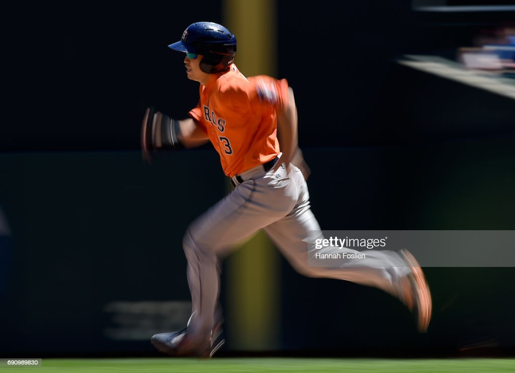 Norichika Aoki #3 of the Houston Astros runs the bases against the Minnesota Twins during the sixth inning of the game on May 31, 2017 at Target Field in Minneapolis, Minnesota. The Astros defeated the Twins 17-6.