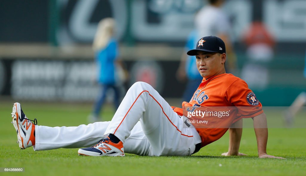 Norichika Aoki #3 of the Houston Astros stretches before playing the Los Angeles Angels of Anaheim at Minute Maid Park on June 9, 2017 in Houston, Texas.