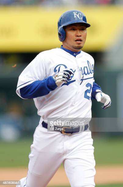 Norichika Aoki of the Kansas City Royals advances to third on a Omar Infante single in the fourth inning during a game against the Chicago White Sox...