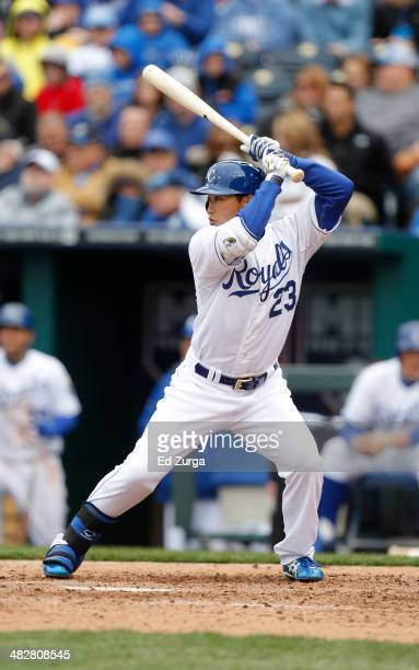Norichika Aoki of the Kansas City Royals bats against the Chicago White Sox in the Royals home opener at Kauffman Stadium on April 4 2014 in Kansas...