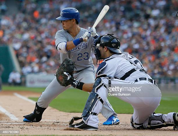 Norichika Aoki of the Kansas City Royals bats against the Detroit Tigers as catcher Alex Avila of the Detroit Tigers works behind the plate during...