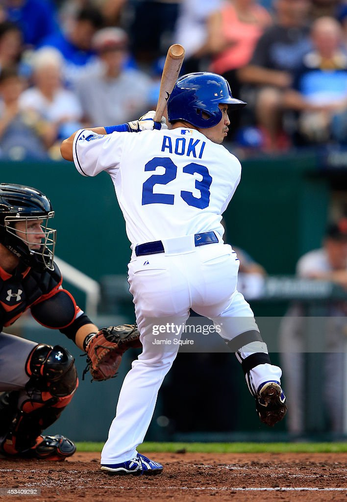 Norichika Aoki #23 of the Kansas City Royals bats during the 4th inning of the game against the San Francisco Giants at Kauffman Stadium on August 9, 2014 in Kansas City, Missouri.