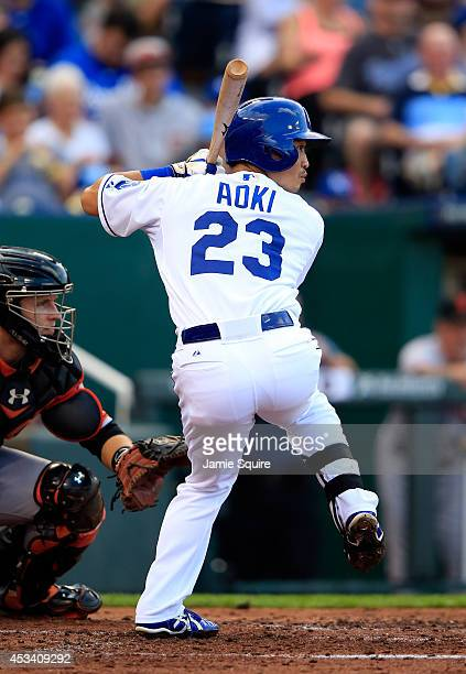 Norichika Aoki of the Kansas City Royals bats during the 4th inning of the game against the San Francisco Giants at Kauffman Stadium on August 9 2014...