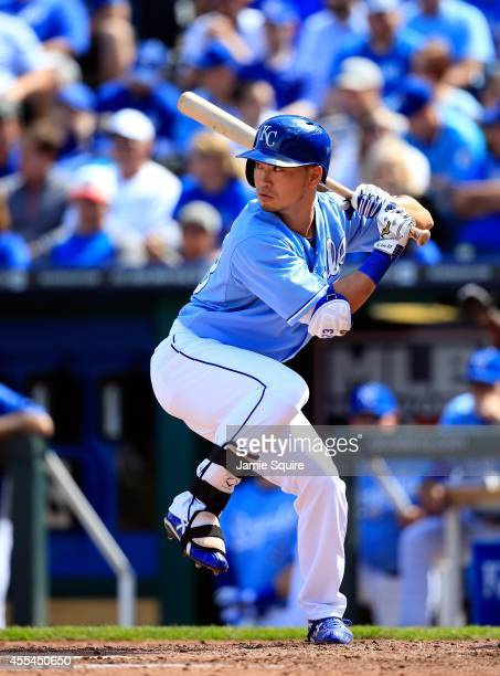 Norichika Aoki of the Kansas City Royals bats during the game against the Boston Red Sox at Kauffman Stadium on September 14, 2014 in Kansas City,...