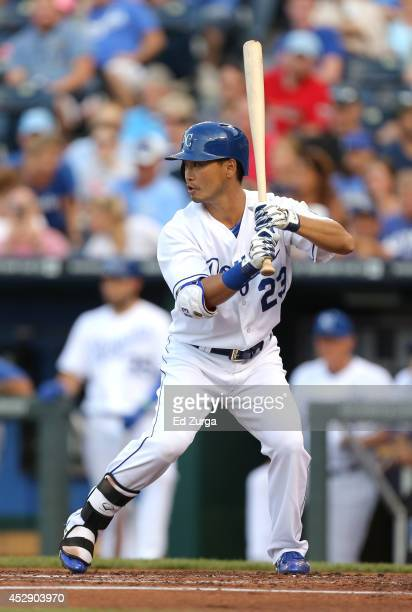 Norichika Aoki of the Kansas City Royals bats in the first inning against the Minnesota Twins at Kauffman Stadium on July 29 2014 in Kansas City...