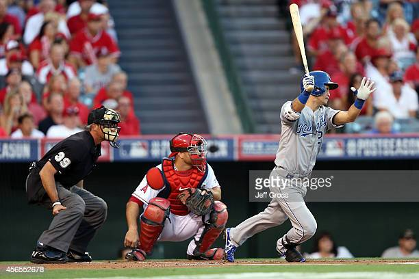 Norichika Aoki of the Kansas City Royals bats in the first inning against the Los Angeles Angels during Game One of the American League Division...