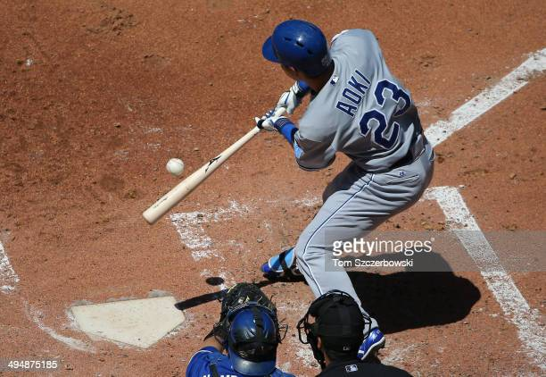 Norichika Aoki of the Kansas City Royals bats in the third inning during MLB game action against the Toronto Blue Jays on May 31 2014 at Rogers...