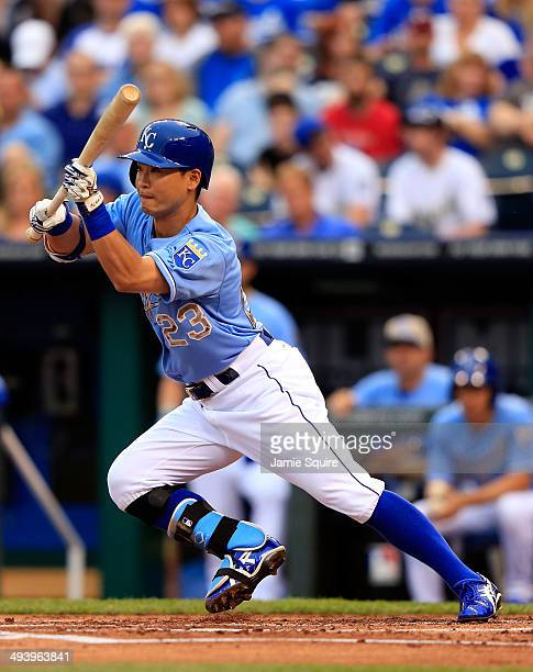 Norichika Aoki of the Kansas City Royals bunts during the first inning of the game against the Houston Astros at Kauffman Stadium on May 26 2014 in...