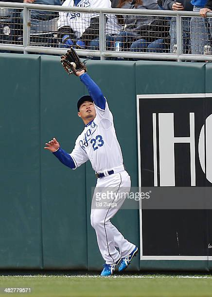 Norichika Aoki of the Kansas City Royals catches a sacrifice fly hit by Jose Abreu of the Chicago White Sox in the first inning of the Royals' home...