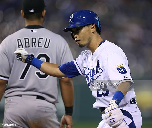 Norichika Aoki of the Kansas City Royals celebrates after hitting a single against the Chicago White Sox in the third inning at Kauffman Stadium on...