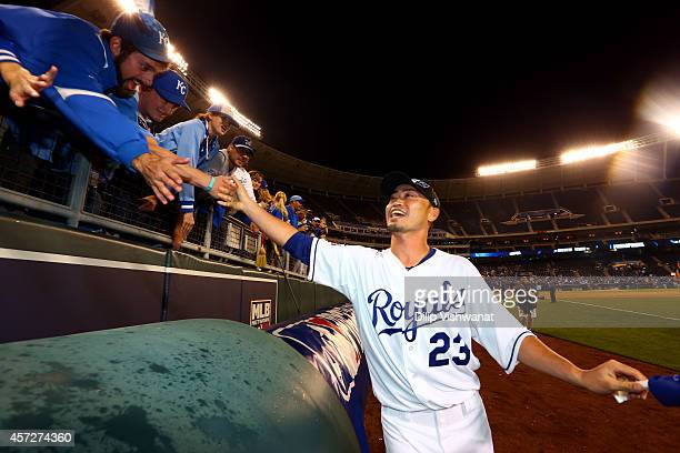 Norichika Aoki of the Kansas City Royals celebrates after their 2 to 1 win over the Baltimore Orioles to sweep the series in Game Four of the...