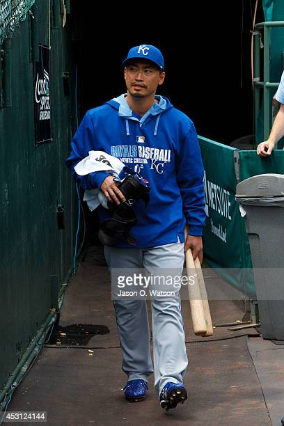 Norichika Aoki of the Kansas City Royals enters the dugout before the game against the Oakland Athletics at O.co Coliseum on August 3, 2014 in...