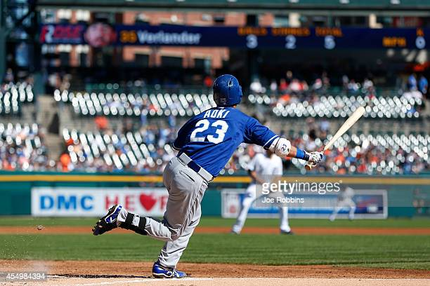 Norichika Aoki of the Kansas City Royals flies out in the first inning of the game against the Detroit Tigers at Comerica Park on September 8 2014 in...