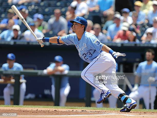Norichika Aoki of the Kansas City Royals flies out in the first inning against the Cleveland Indians at Kauffman Stadium on June 11, 2014 in Kansas...