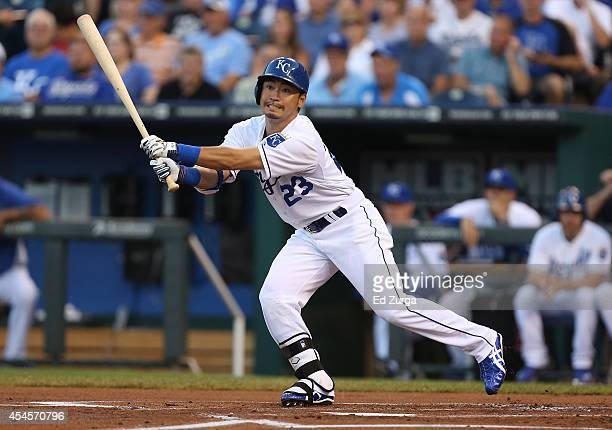 Norichika Aoki of the Kansas City Royals fouls the ball off as he bats in the first inning against the Texas Rangers at Kauffman Stadium on September...