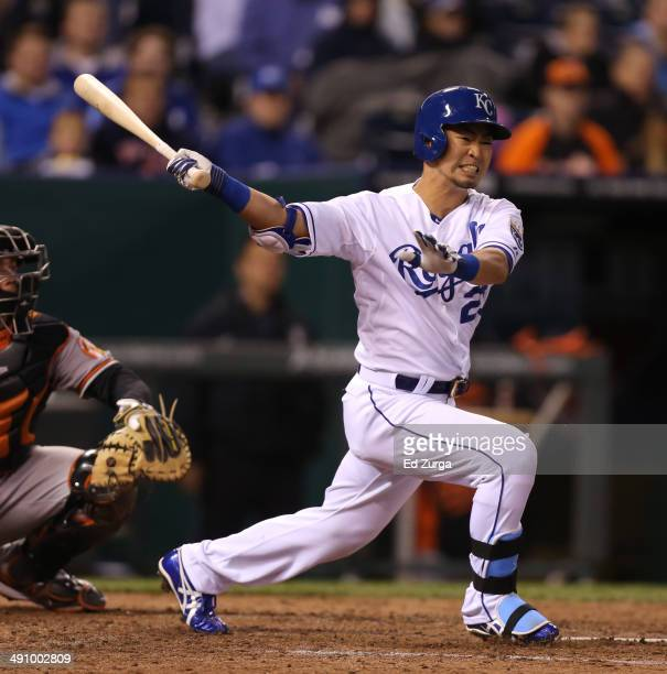 Norichika Aoki of the Kansas City Royals fouls the ball off as he bats against the Baltimore Orioles in the fifth inning at Kauffman Stadium on May...