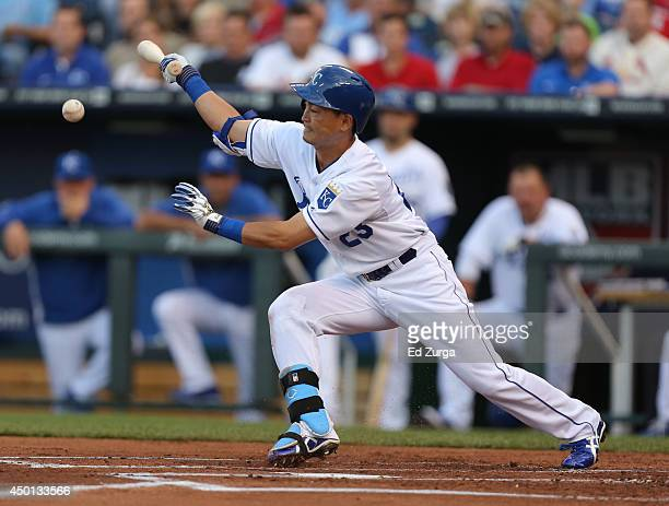 Norichika Aoki of the Kansas City Royals fouls the ball off in the first inning during a game against the St Louis Cardinals at Kauffman Stadium on...