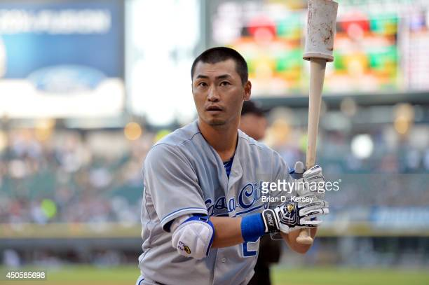 Norichika Aoki of the Kansas City Royals gets ready to bat before the first inning against the Chicago White Sox at US Cellular Field on June 13 2014...