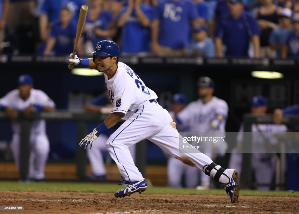 Norichika Aoki #23 of the Kansas City Royals grounds out in the eighth inning against the Cleveland Indians at Kauffman Stadium on August 31, 2014 in Kansas City, Missouri.