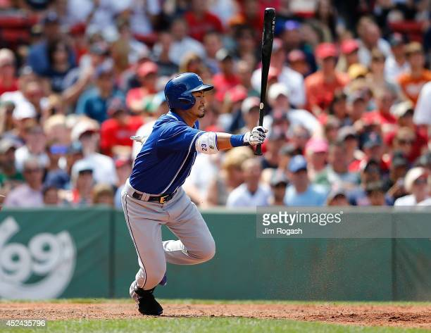 Norichika Aoki of the Kansas City Royals grounds out in the fifth inning against the Boston Red Sox at Fenway Park on July 20, 2014 in Boston,...