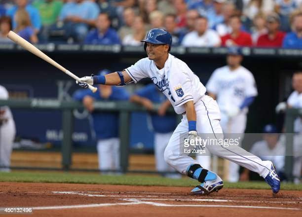 Norichika Aoki of the Kansas City Royals grounds out in the first inning during a game against the St Louis Cardinals at Kauffman Stadium on June 5...