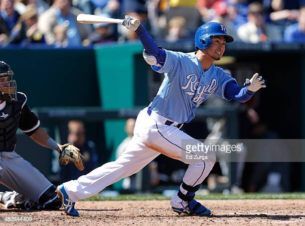 Norichika Aoki of the Kansas City Royals hits a double in the fifth inning against the Chicago White Sox at Kauffman Stadium on April 5, 2014 in...