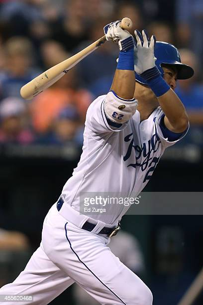 Norichika Aoki of the Kansas City Royals hits a double in the first inning against the Chicago White Sox at Kauffman Stadium on September 17, 2012 in...