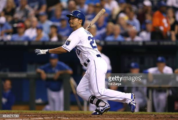 Norichika Aoki of the Kansas City Royals hits a RBI double in the third inning against the Texas Rangers at Kauffman Stadium on September 2 2014 in...