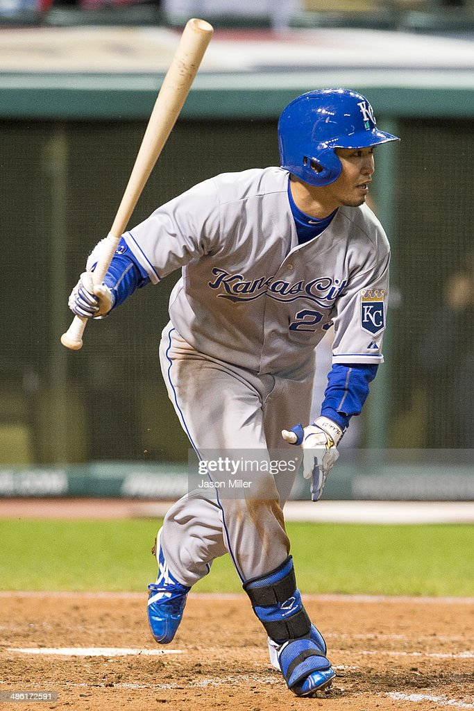 Norichika Aoki #23 of the Kansas City Royals hits a single during the eighth inning against the Cleveland Indians at Progressive Field on April 22, 2014 in Cleveland, Ohio.