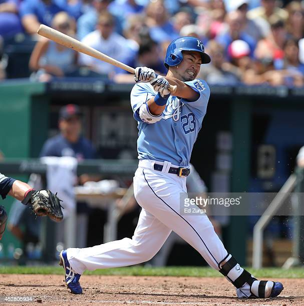 Norichika Aoki of the Kansas City Royals hits a single in the fifth inning against the Cleveland Indians at Kauffman Stadium on July 27 2014 in...