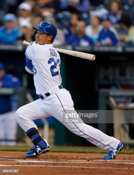 Norichika Aoki of the Kansas City Royals hits a single in the first inning against the Tampa Bay Rays at Kauffman Stadium on April 8 2014 in Kansas...