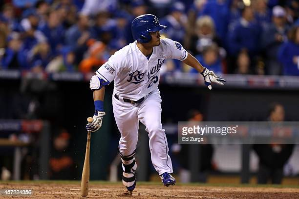 Norichika Aoki of the Kansas City Royals hits a single in the sixth inning against WeiYin Chen of the Baltimore Orioles during Game Three of the...